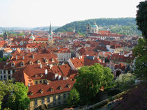 View of the old town of Prague - the red roofs Stock Image