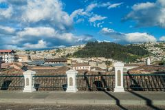 View of old town in Quito stock image