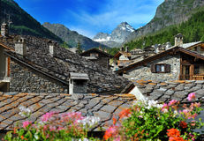 View on old town Rhemes Notre Dame, Valle d'Aosta, Italy Royalty Free Stock Image