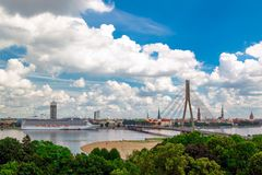 View of the old town in Riga, Dvina stock images