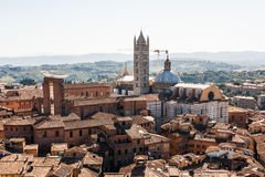 View of the old town of Siena, Italy. View of the old town of Siena with the Duomo, Italy royalty free stock photography