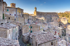 View of the old town of Sorano, Tuscany, Italy. Old architecture in the medieval town on tuff rocky hill Stock Image