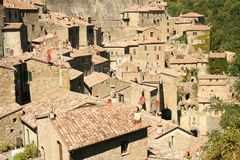 The old town of  Sorano. View of the old town of  Sorano in Tuscany, Italy Royalty Free Stock Photography