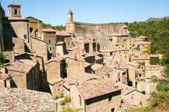 View of the old town of Sorano. Tuscany, Italy royalty free stock photography