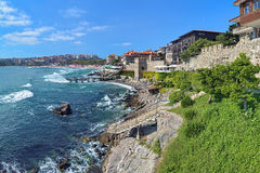View of Old Town of Sozopol with Southern Fortress Wall, Bulgaria Royalty Free Stock Photo
