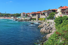 View of Old Town of Sozopol with Southern Fortress Wall, Bulgaria Royalty Free Stock Image