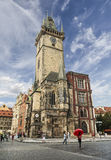 View on the old town square and city hall with tourists in summer Sunny day in Prague Stock Photos