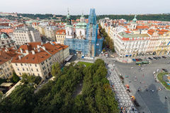 View of the Old Town Square with the height of the town hall. Stock Photography