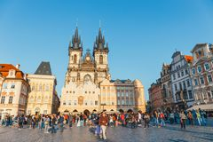 View of Old Town square in Prague in a beautiful autumn day, Czech Republic stock photo