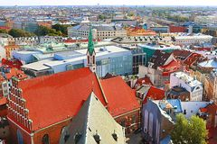 View of old town and St. John Church, Riga, Latvia stock image