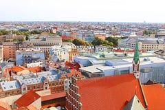 View of old town and St. John Church, Riga, Latvia royalty free stock photo