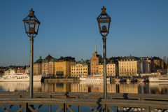 View of Old Town, Stockholm, Sweden with lamp posts Stock Photo