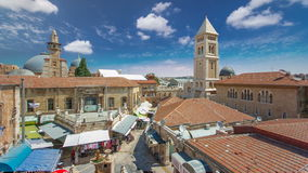 View of the old town timelapse. Jerusalem, Israel. Old city of Jerusalem from top. stock video footage