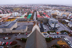 View of Old Town from top of church tower at dusk, Reykjavik Royalty Free Stock Photo