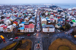 View of Old Town from top of church tower at dusk, Reykjavik Royalty Free Stock Photography