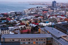 View of Old Town from top of church tower at dusk, Reykjavik Stock Photo