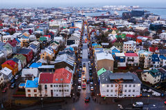 View of Old Town from top of church tower at dusk, Reykjavik Royalty Free Stock Photos