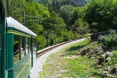 Old train on mountain. View of a old train on mountain. The location is Saint Gervais Le Fayet in France royalty free stock photo