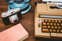View of an old typewriter and camera Stock Image