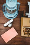 View of an old typewriter and camera Royalty Free Stock Image