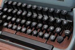 View of an old typewriter keys. Color close-up view of an old russian typewriter keys Stock Photography
