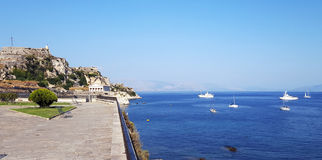 View of the Old Venetian  fortress at Corfu island Royalty Free Stock Image
