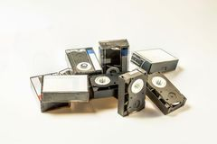 View of old video mini tape cassettes isolated on white background stock images