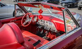 View of old vintage interior retro car cab Stock Images