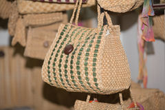 View of old vintage retro style woman fashionable straw bag Royalty Free Stock Photography