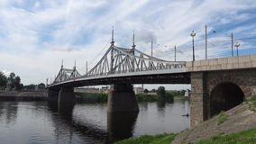 View of the Old Volga Bridge, cloudy july afternoon. Tver, Russia. View of the Old Volga Bridge, cloudy july afternoon. Tver. Russia stock video footage