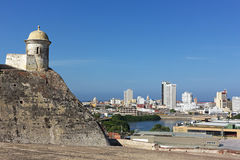 A view on the old walled city of Cartagena from atop of San Filipe de Barajas Castle, Colombia. Stock Photography