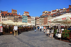 View of old Warsaw. On the sqare in the summer Stock Images