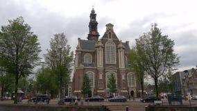 View on the old Western Church Westerkerk, September day. Amsterdam, Netherlands
