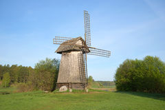 View of the old windmill in Mikhailovskoe. Pskov region, Pushkinskiye Gory, Russia Stock Photo