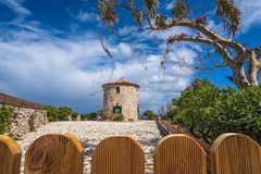 View of the old windmill in Skinari Cape royalty free stock photo