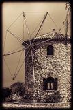View of the old windmill in Skinari Cape stock photography