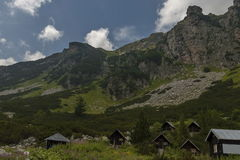 View of old wood rest-house, bivouac or bungalow by rest-house Maliovitza on the ecological   walk toward Maliovitza peak in Rila Stock Image