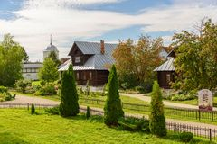 View of old wooden houses. Russia. Home for nuns in an ancient monastery. View of old wooden houses in Suzdal city. Russia. Home for nuns in an ancient Royalty Free Stock Photos