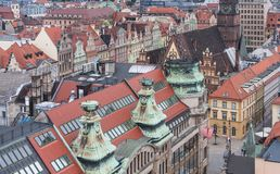 A view of old Wroclaw from the Bridge of Penitents being part of the St. Magdalene. royalty free stock image