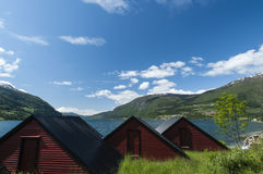 Olden fjord with huts Royalty Free Stock Photo