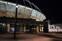 View on Olimpiyskyi stadium at night Stock Images