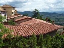 View of the olive groves and plains around Cortona stock photos