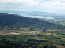 View of the olive groves and plains around Cortona Stock Image