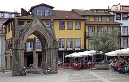 View of Oliveira Square in Guimaraes, Portugal. Guimaraes, Portugal - May 19, 2018: View of Oliveira Square in old town of Guimaraes stock images
