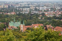 View of Oliwa district. View of Oliwa Cathedral, Oliwa district and beyond in Gdansk, Poland, from above Royalty Free Stock Photo