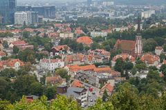 View of Oliwa district. View of the Oliwa district and beyond in Gdansk, Poland, from above Stock Photography
