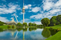 View on Olympiapark with Olympic tower at Munich, Bavaria, Germa Royalty Free Stock Image