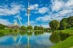 View on Olympiapark with Olympic tower at Munich, Bavaria, Germa Stock Images