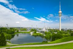 View on Olympiapark with Olympic tower at Munich, Bavaria, Germa Stock Photo