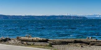 Olympics From Seahurst Beach 7. A view of the Olympic Mountains from Seahurst Beach Park in Burien, Washington stock photos